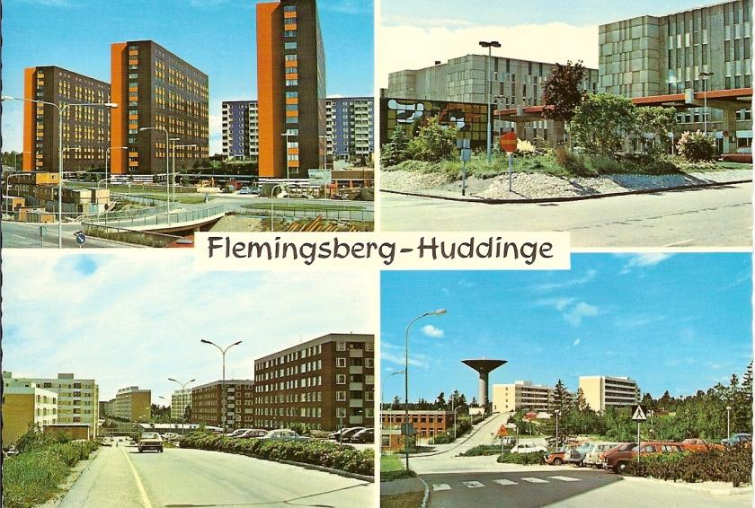 Vykort Flemingsberg-Huddinge (4 bilds färg), foto L Hollstrand 02-1204, Ultraförlaget, poststämpel 1989