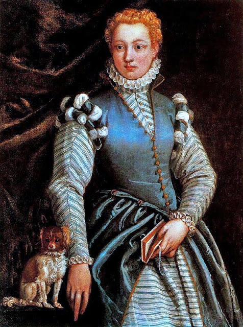 1560s Paolo Caliari (Veronese), Portrait of a Lady with a Dog (1)