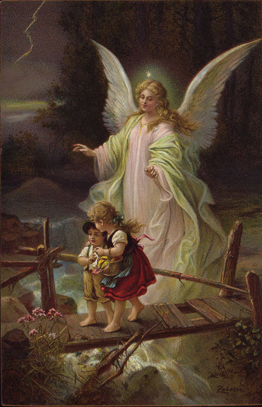 guardian angel with children on bridge. storm. antique postcard German