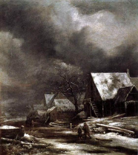 Jacob van Ruisdael – Staatsgalerie Schleissheim. Village in Winter by Moonlight (mid 1660s)