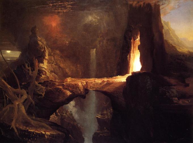 Expulsion_-_Moon_and_Firelight_c1828_Thomas_Cole
