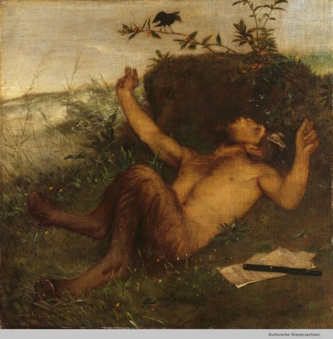 Pan whistling at a blackbird - Arnold Böcklin