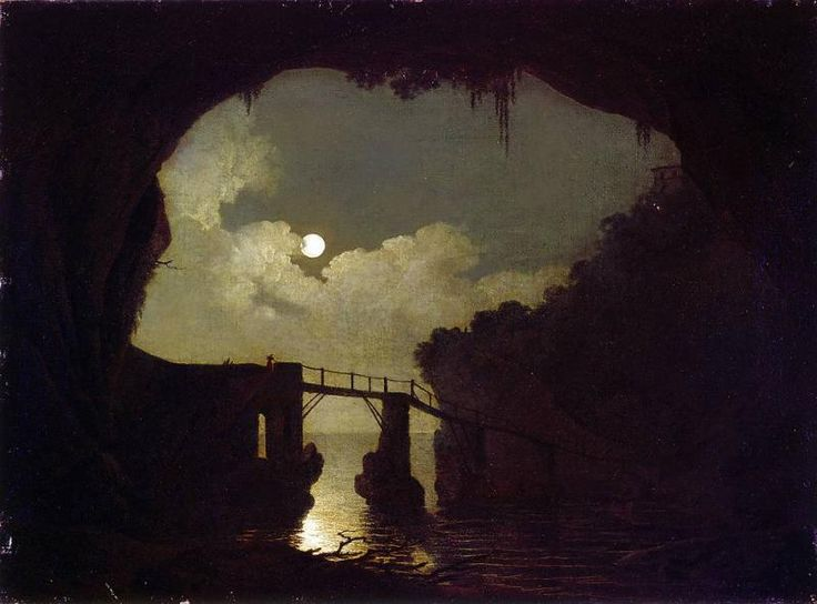 Joseph Wright of Derby, Bridge through a Cavern, Moonlight 1791