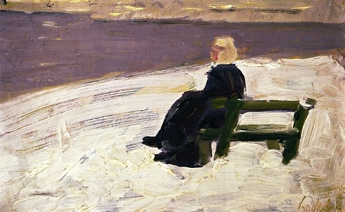 Franz Marc, Woman in Winter Landscape on a Green Bench, 1906