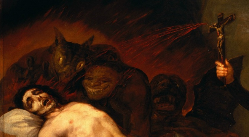 """St.-Francis-Borgia-at-Death-Bed-of-an-Impenitent""-by-Francisco-Goya-Close-"""